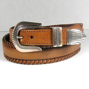 Vintage Brown Western Belt With Silver Buckle  36